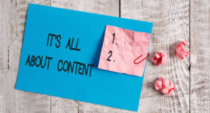 image of it's all about content for article on blog and email together for best results