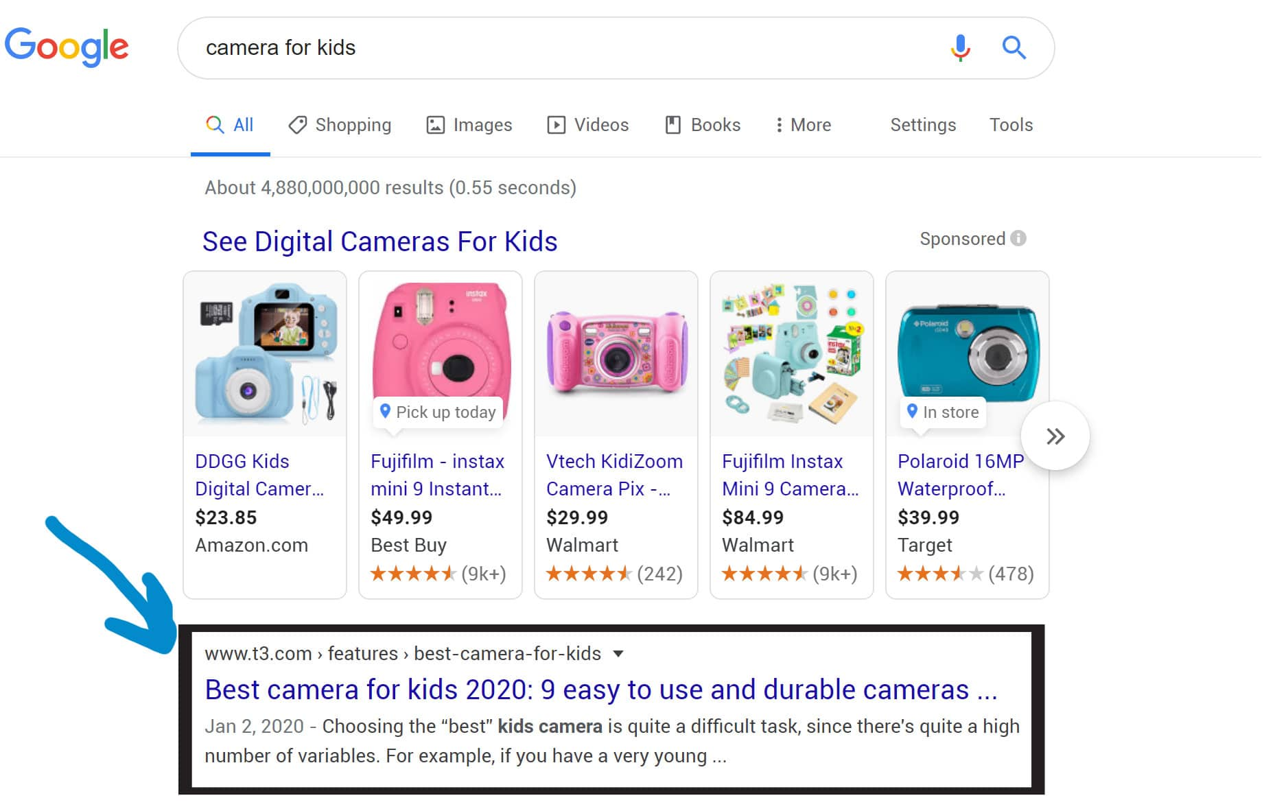 image of google search result